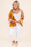 kimono, three quarter sleeve, tassel hems, mustard, floral, red, orange, black, blue, comfy, outerwear, spring, summer