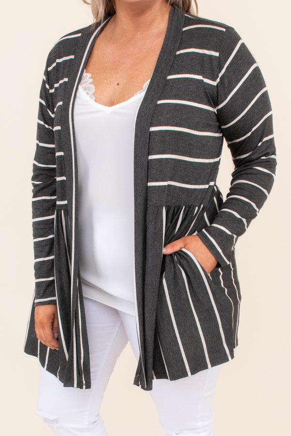 cardigan, long sleeve, long, babydoll, flowy, charcoal, white, striped, comfy, outerwear