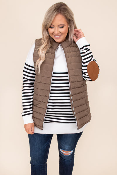top, vest, layer, brown, solid, sleeveless, fall, winter, warm