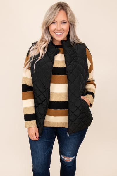 top, sweater, black, brown, tan, striped, colorblock, long sleeve