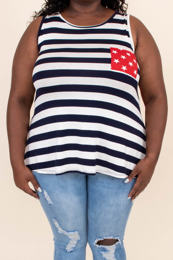 shirt, tank, striped front, stars back, star pocket, blue, navy, white, red, americana, loose, comfy