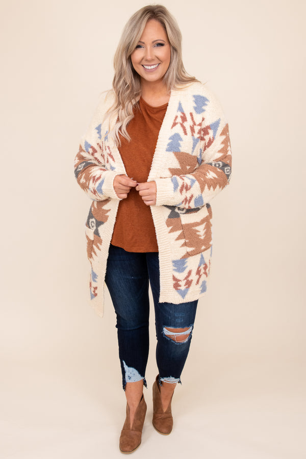 top, cardigan, brown, white, orange, aztec, long sleeve