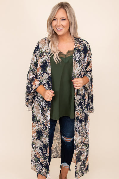 top, kimono, blue, floral, long sleeve, flowy