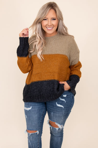 top, sweater, brown, navy, tan, stripes, colorblock, long sleeve