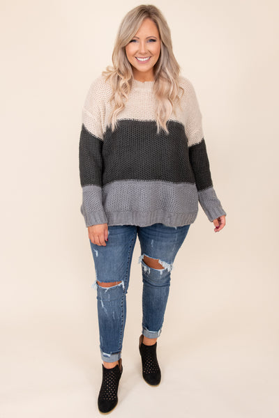 Crushing On Fall Sweater, Taupe-Charcoal
