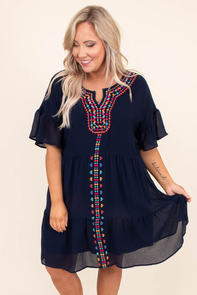 dress, short, short sleeve, ruffle sleeve, ruffle hem, babydoll, flow, navy, embroidered, red, orange, green, blue, comfy