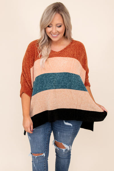 top, sweater, colorblock, long sleeve, three-quarter sleeve, 3/4, rust, orange, ivory, white, teal, blue, black, fuzzy, comfy, cute, v-neck, cute