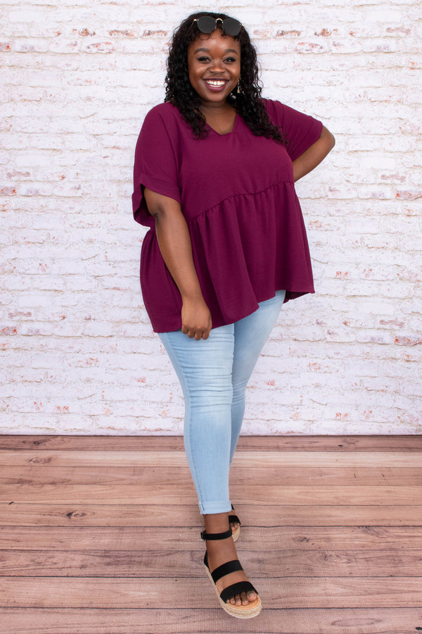 shirt, top, short sleeve, baby doll, v neck, loose, comfy, burgundy