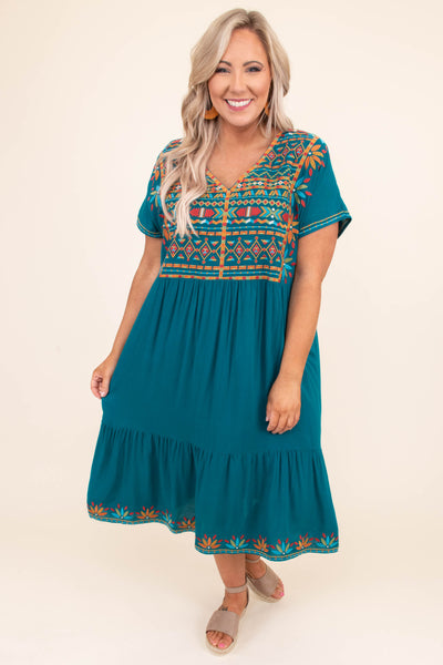 dress, midi, short sleeve, vneck, flowy, ruffle hem, babydoll, teal, embroidered, orange, red, blue, comfy