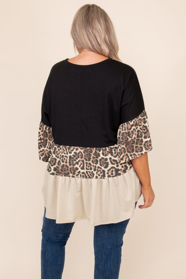 top, casual, babydoll, brown, colorblock, black, leopard, three quarter sleeves, flowy