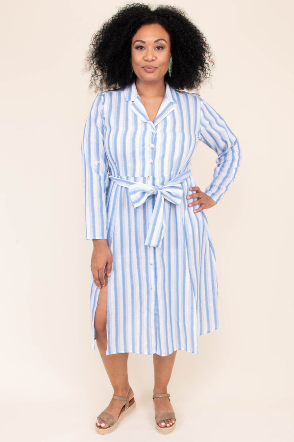 dress, short dress, below the knee, button front, collar, tie waist, striped, blue, white