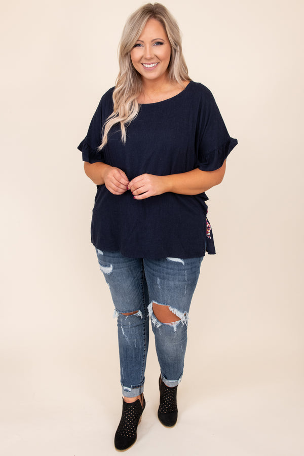 top, casual top, blue, floral, short sleeve, comfy