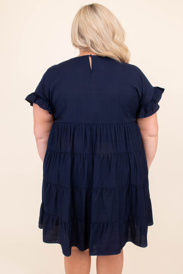 dress, short, short sleeve, ruffle sleeves, babydoll, tiered, flowy, navy, comfy