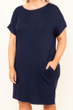 dress, short, short sleeve, cuffed, pockets, fitted, navy, comfy