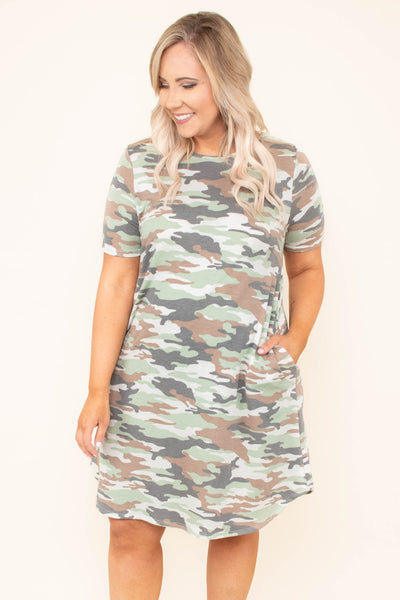 dress, short, short sleeve, pockets, sage, charcoal, brown, camo print, pockets