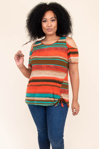 shirt, top, short sleeve, off the shoulder, cold shoulder, strips, tie top, tie waistline, loose, comfy, orange, brown, teal