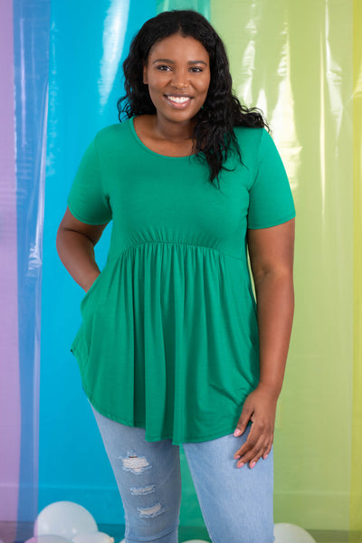 top, casual, babydoll top, green, solid, short sleeve, flowy, comfy, cozy