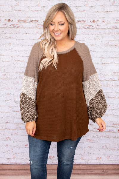 top, casual, brown, floral, long sleeve, comfy, flattering, warm, fall