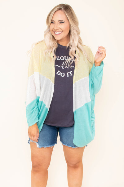 cardigan, long sleeve, drapey, yellow, white, seafoam, colorblock, comfy