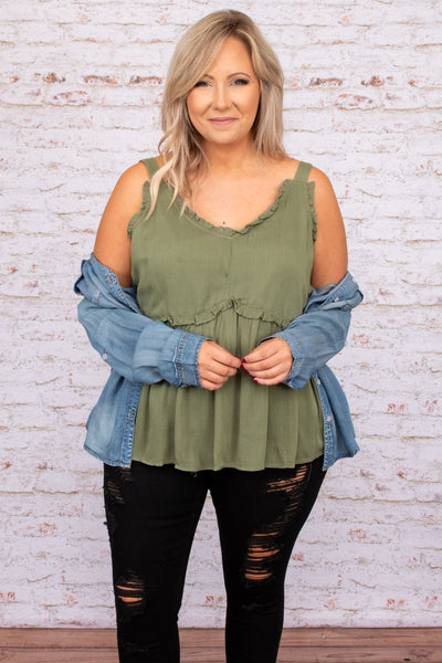top, tank, green, solid, sleeveless, ruffle, v neck, babydoll tank, olive