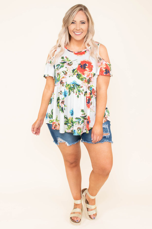 top, cold shoulder, short sleeve, white, red and blue floral, flowy