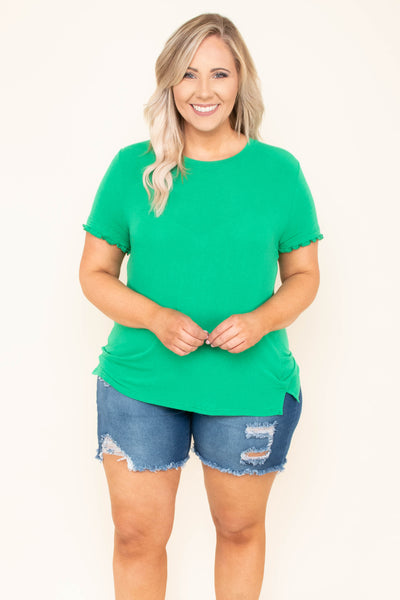 shirt, short sleeve, ruffle sleeve, fitted, short, green, solid, comfy