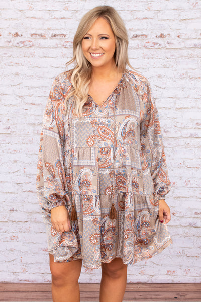 dress, casual babydoll dress, long sleeve, brown, paisley, bubble