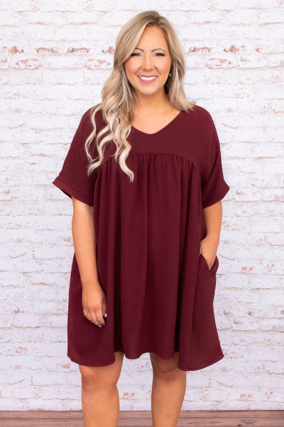 dress, short dress, baby doll, v neck, short sleeve, burgundy, red