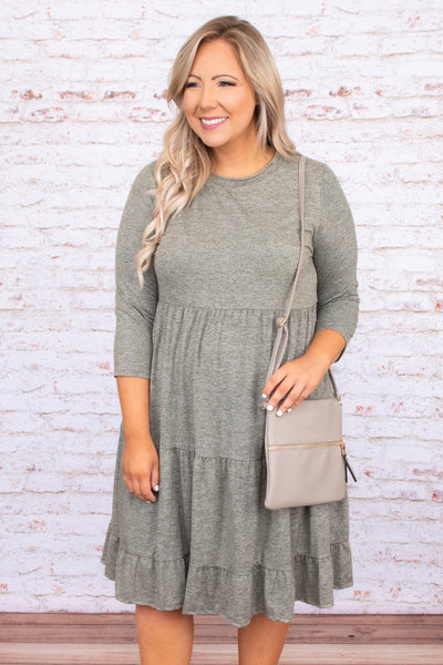 dress, midi dress, three quarter sleeve, baby doll, olive, green, loose, comfy
