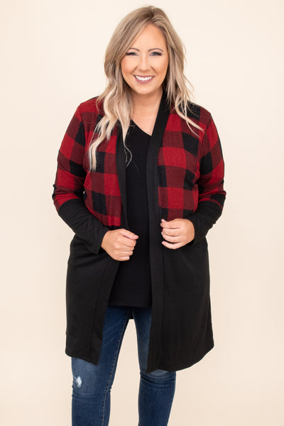 top, cardigan, black, red, plaid, long sleeve, layer, winter