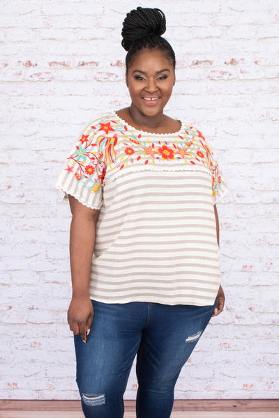 shirt, short sleeve, loose, scallop details, taupe, white, striped, embroidery, orange, yellow, blue, green, comfy