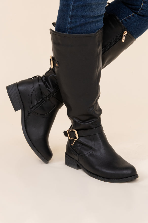boots, shoes, black, buckle, knee high