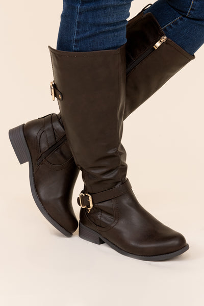 boots, shoes, brown, buckle, knee high