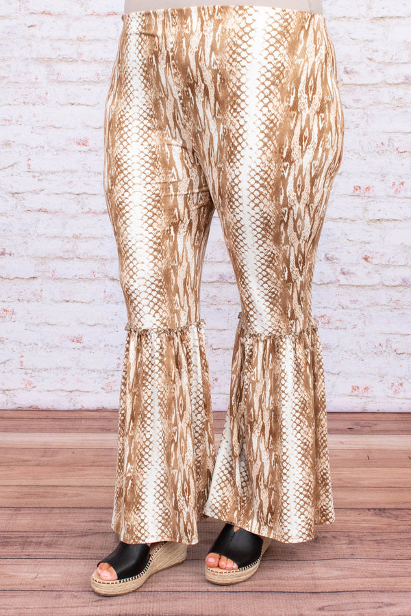 pants, long, flare, snakeskin, mocha, white