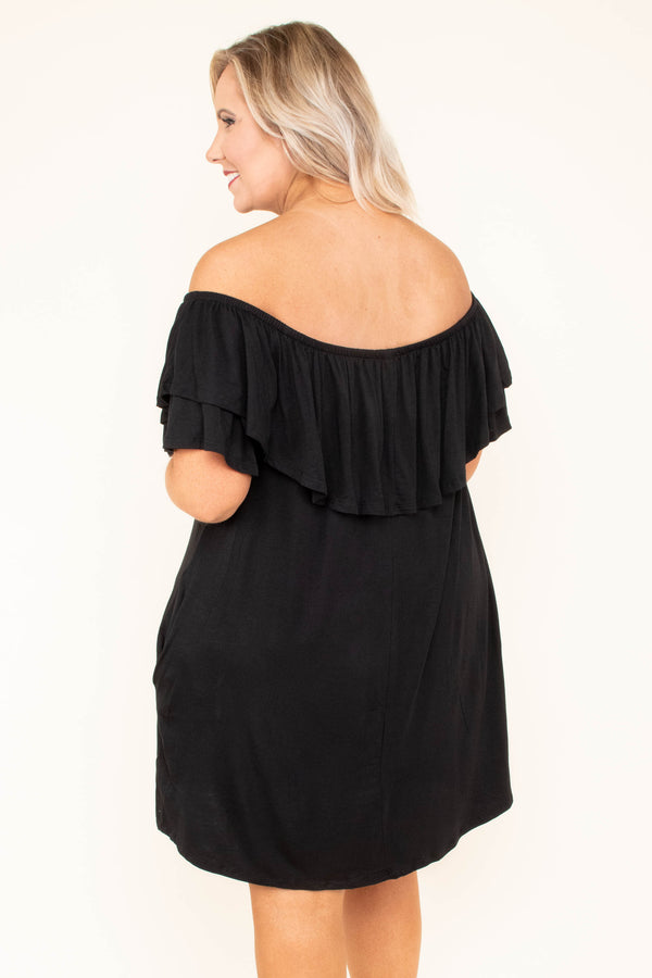 dress, short, off the shoulder, black, short sleeve, ruffle top, pockets