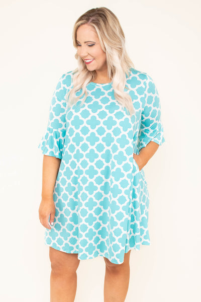 dress, three quarter sleeve, short, pockets, mint, white pattern