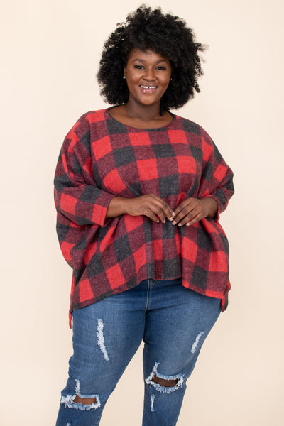 top, poncho, red, grey, plaid, batwing, winter