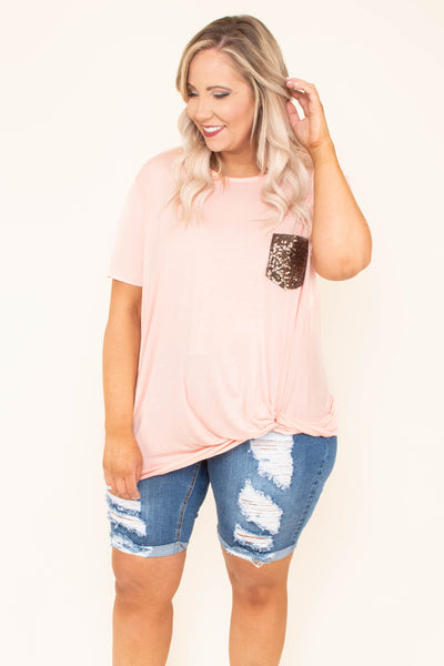 top, short sleeve, blush, twist front, sequin pocket gold, flowy