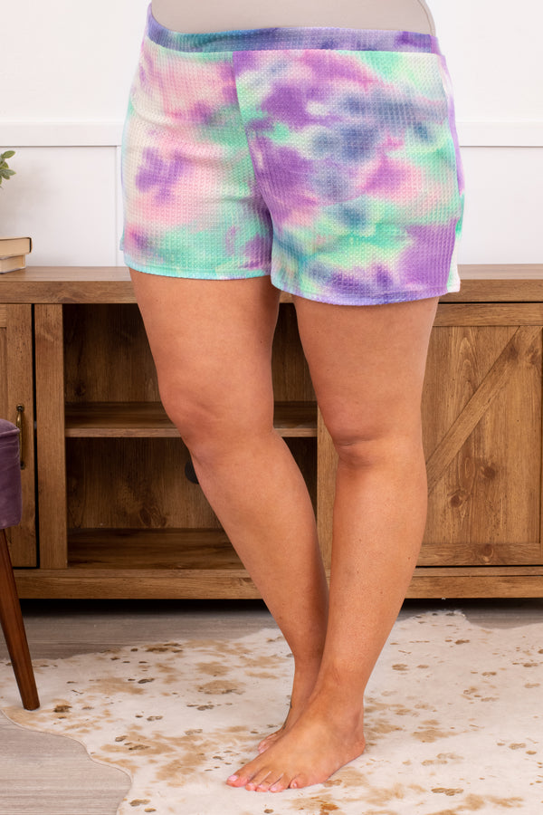 pants, shorts, above the knee, waffle knit, tie dye, loose, comfy, lounge wear, lounge pants, lounge shorts