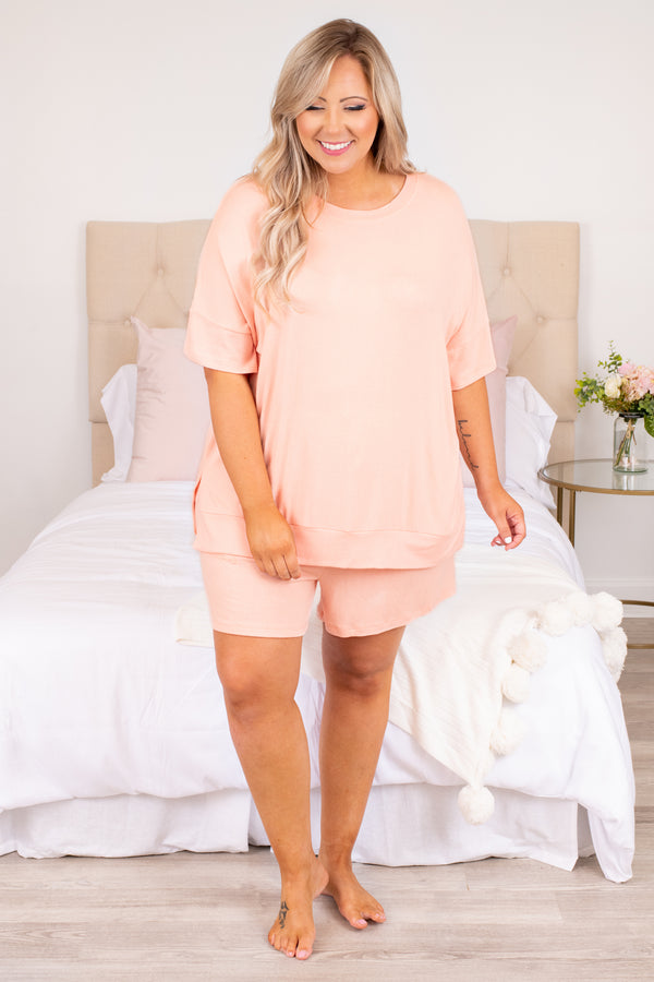 shirt, top, short sleeve, pink, loose, comfy, lounge wear, lounge top