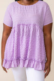 top, casual top, babydoll top, purple, floral, short sleeve, lavender