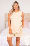 shirt, top, tank, sleeveless, taupe, loose, comfy, lounge wear