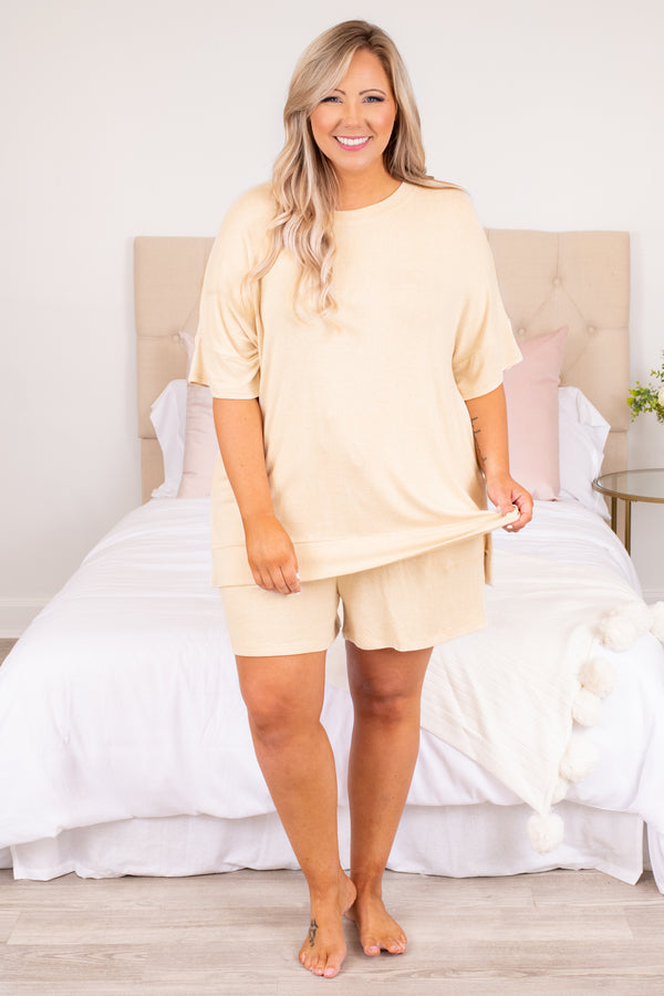 shirt, top, short sleeve, lounge wear, lounge top, taupe