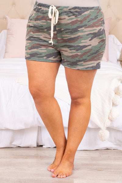 shorts, lounge wear, lounge shorts, drawstring, camo, green, loose, comfy