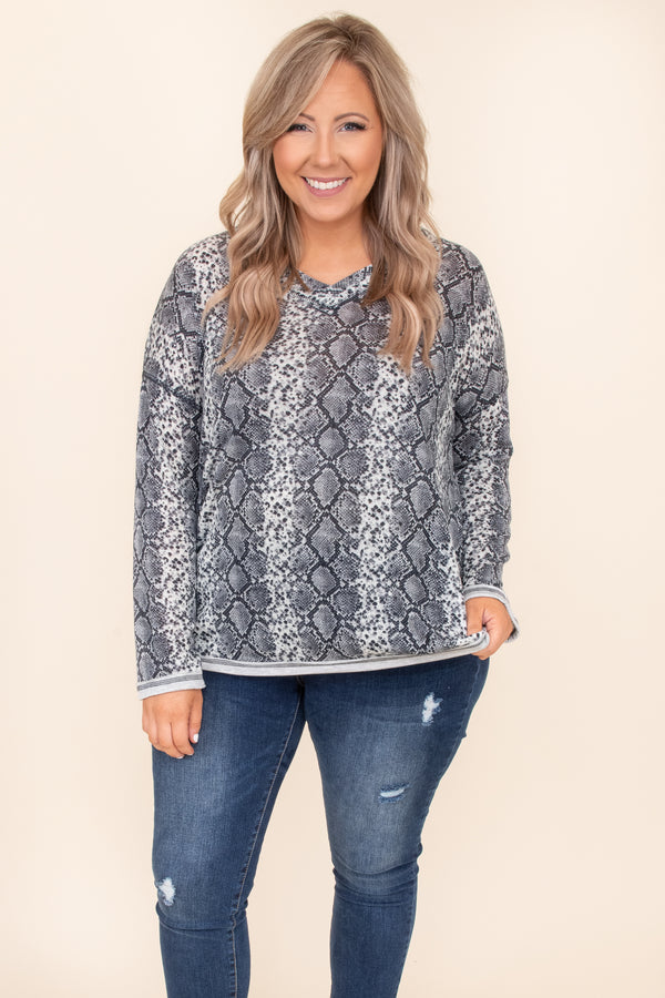 top, casual top, gray, snakeskin, long sleeve, v neck