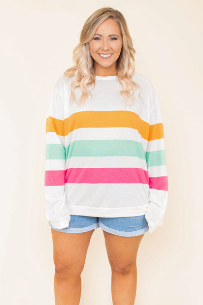 shirt, long sleeve, curved hem, loose, white, coral, mint, pink, colorblock, comfy