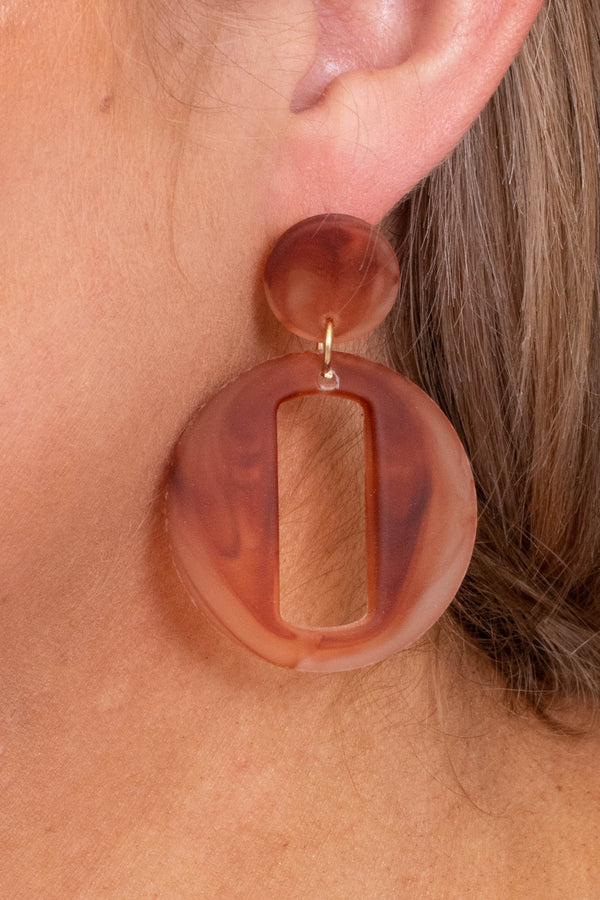 earrings, dangly, natural, brown, ivory, circular, rectangle cut out
