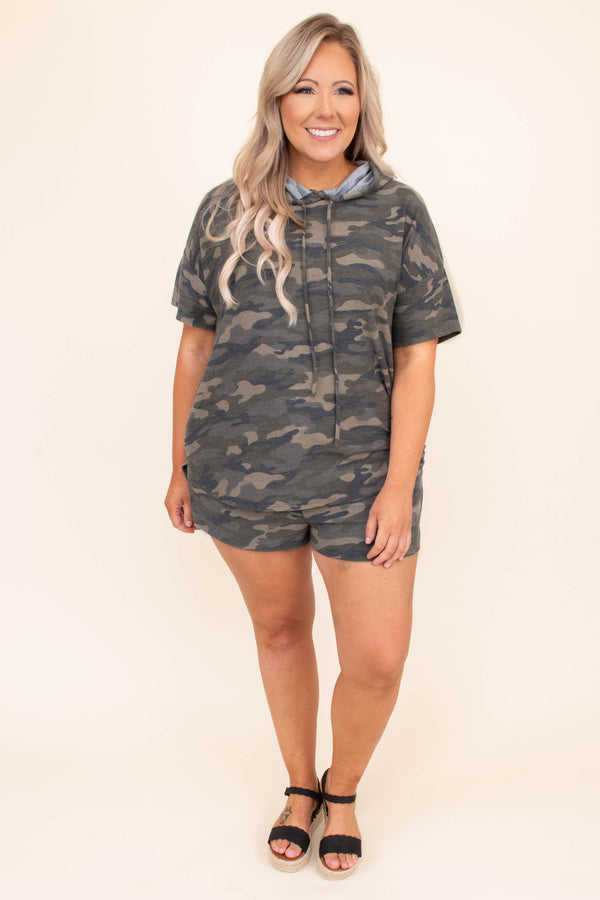 shirt, top, hoodie, lounge wear, lounge top, short sleeve,  camo, green, drawstring hood