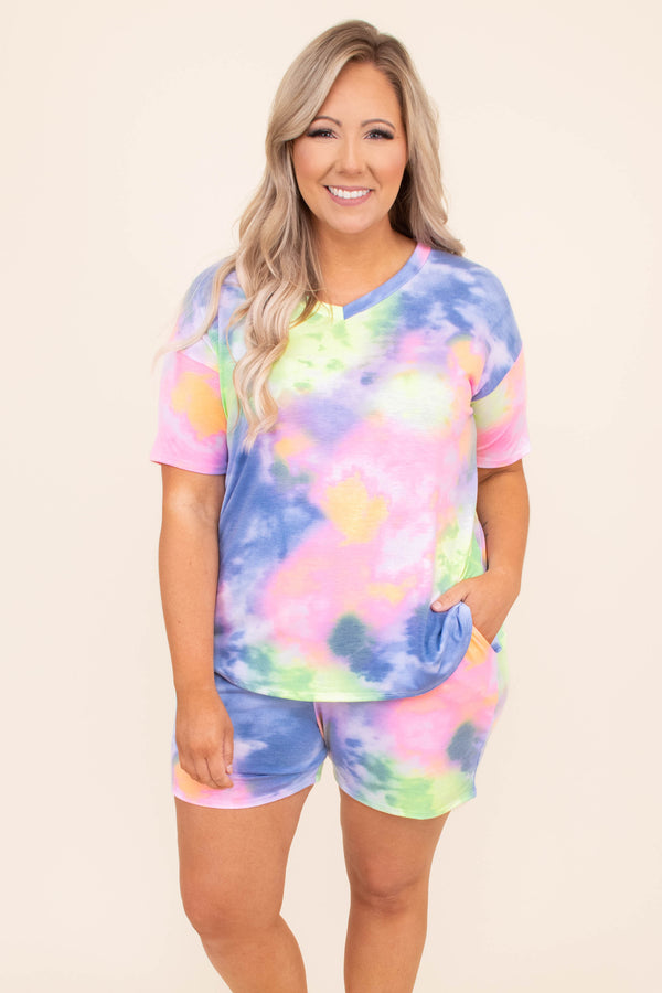 shirt, top, v neck, short sleeve, tie dye, lounge wear, lounge top, blue, pink, green, loose, comfy