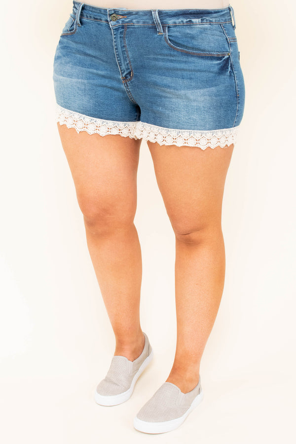 shorts, light blue, faded, crochet hem